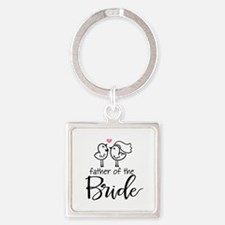 Cute father of the Bride Square Keychain
