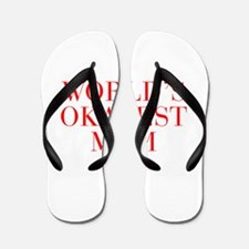World s Okayest Mom-Bau red 500 Flip Flops