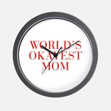 World s Okayest Mom-Bau red 500 Wall Clock