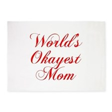 World s Okayest Mom-Cho red 300 5'x7'Area Rug