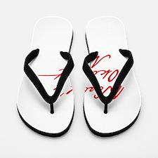 World s Okayest Mom-Jan red 400 Flip Flops