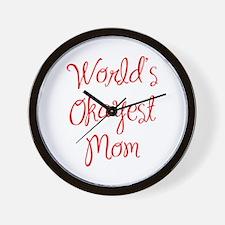 World s Okayest Mom-MAS red 400 Wall Clock