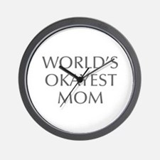 World s Okayest Mom-Opt gray 550 Wall Clock