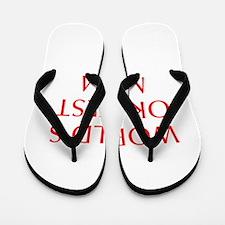 World s Okayest Mom-Opt red 550 Flip Flops