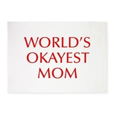 World s Okayest Mom-Opt red 550 5'x7'Area Rug