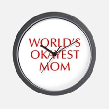 World s Okayest Mom-Opt red 550 Wall Clock