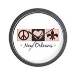Peace Love New Orleans Wall Clock