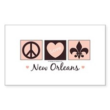 Peace Love New Orleans Rectangle Decal