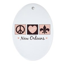 Peace Love New Orleans Oval Ornament
