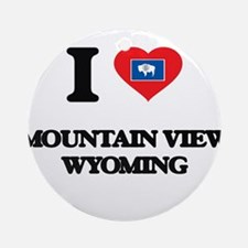 I love Mountain View Wyoming Ornament (Round)
