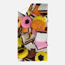 retro licorice candy Beach Towel