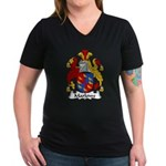Marlowe Family Crest Women's V-Neck Dark T-Shirt