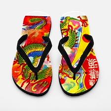 Vintage Chinese Dragon Flip Flops