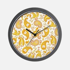 Orange Paisley Pattern Wall Clock