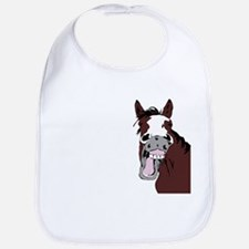 Cartoon Horse Laughing Funny Equestrian Art Bib