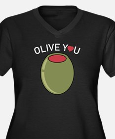 Olive You Women's Plus Size V-Neck Dark T-Shirt