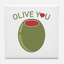 Olive You Tile Coaster