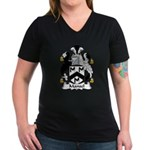 Mansel Family Crest Women's V-Neck Dark T-Shirt