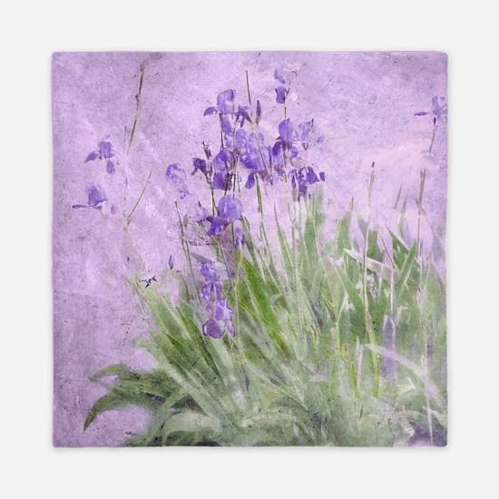 Purple Irises Queen Duvet