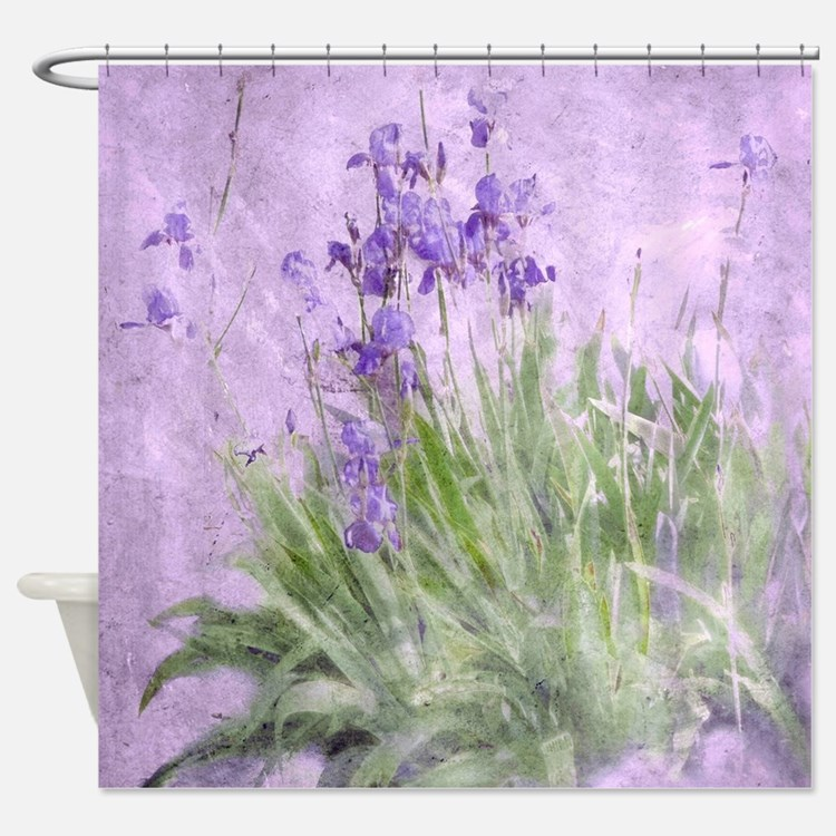 Purple Iris Shower Curtains Purple Iris Fabric Shower Curtain Liner