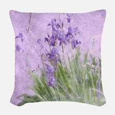 Purple Irises Woven Throw Pillow