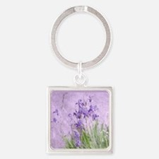 Purple Irises Square Keychain
