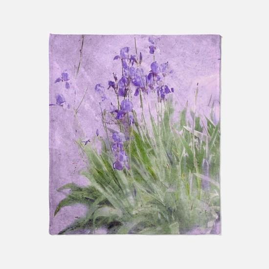Purple Irises Throw Blanket