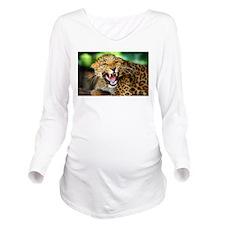 Growling Leopard Long Sleeve Maternity T-Shirt