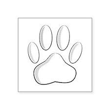 White Dog Paw Print With Newsprint Effect Sticker