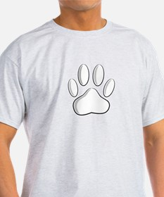 White Dog Paw Print With Newsprint Effect T-Shirt