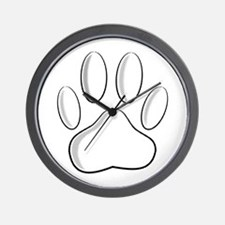 White Dog Paw Print With Newsprint Effe Wall Clock