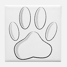 White Dog Paw Print With Newsprint Ef Tile Coaster