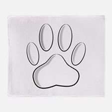 White Dog Paw Print With Newsprint E Throw Blanket