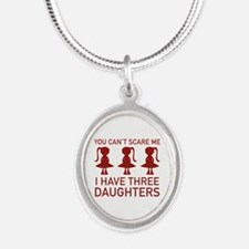 I Have Three Daughters Silver Oval Necklace