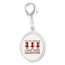 I Have Three Daughters Silver Oval Charm