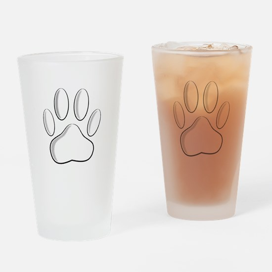 White Dog Paw Print With Newsprint Drinking Glass