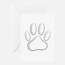White Dog Paw Print With Newsprint Greeting Cards