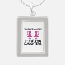 I Have Two Daughters Silver Portrait Necklace