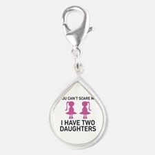 I Have Two Daughters Silver Teardrop Charm