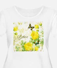 Believe - yellow roses Plus Size T-Shirt
