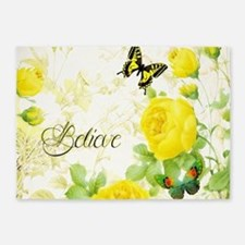 Believe - yellow roses 5'x7'Area Rug