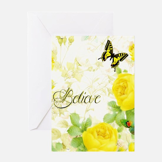 Believe - yellow roses Greeting Cards