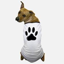 Black Dog Paw Print With Newsprint Eff Dog T-Shirt