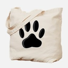 Black Dog Paw Print With Newsprint Effect Tote Bag