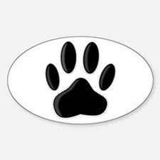 Black Dog Paw Print With Newsprint Effect Decal