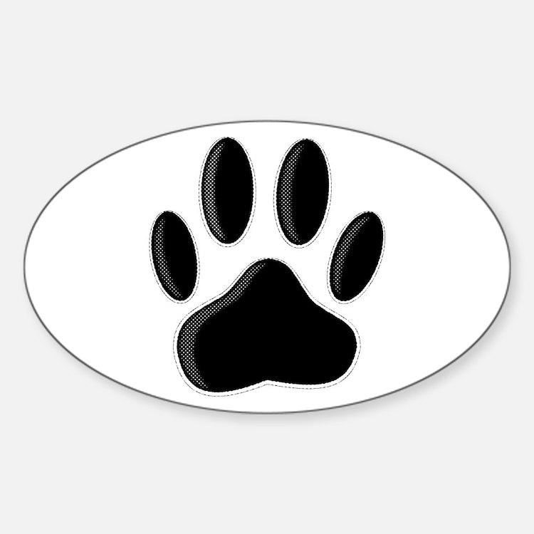 Black Dog Paw Print With Newsprint Effect Decal