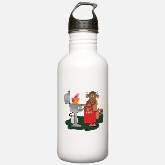 BBQ Chef Grilling Cow Water Bottle