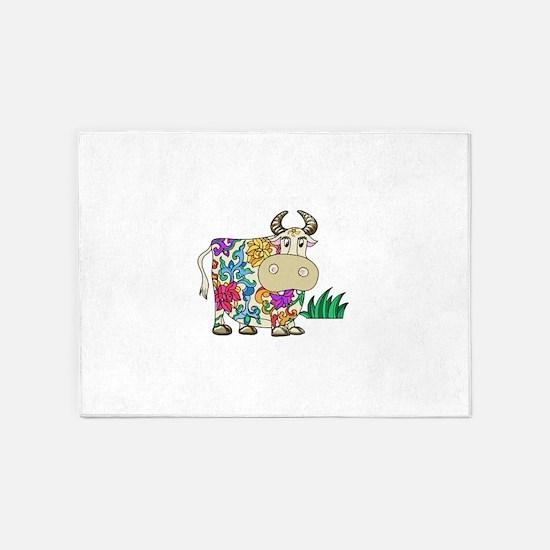 Tattooed Cow 5'x7'Area Rug