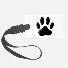 Black Dog Paw Print With Newspri Luggage Tag