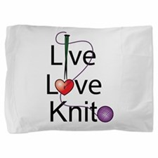live_love_knit.png Pillow Sham